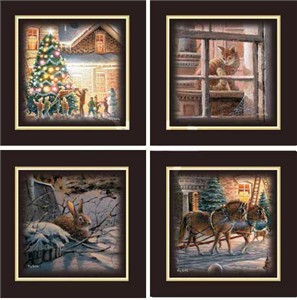 """Terry Redlin Set of 4 Walnut Open Edition Framed Prints: """"Trimming the Tree Companion Prints"""""""