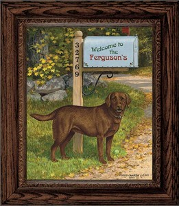 "Persis Clayton Weirs Framed Personalized Canvas Edition:""Life's a Ball-Choc. Lab"""