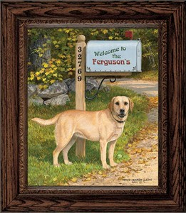 "Persis Clayton Weirs Framed Personalized Canvas Edition:""Life's a Ball-Yellow Lab"""