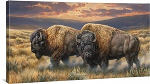 """Rosemary Millette Handsigned and Numbered Limited Edition Oversized Framed Canvas:""""Dusty Plains-Bisons"""""""