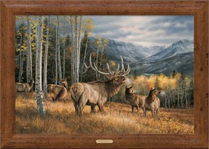 "Rosemary Millette Signed and Numbered Limited Edition Oversized Framed Canvas:""Meadow Music-Elk"""