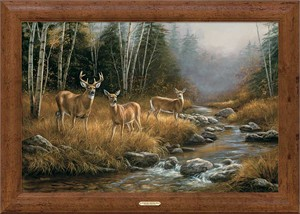 "Rosemary Millette Handsigned and Numbered Limited Edition Oversized Framed Canvas:""October Mist-Whitetail Deer """