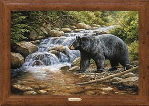 """Rosemary Millette Signed and Numbered Limited Edition Oversized Framed Canvas:""""Shadow Of The Forest-Black Bear"""""""