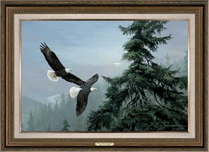 "Persis Clayton Weirs Handsigned and Numbered Oversized Framed Canvas:""Above The Mist-Bald Eagle """