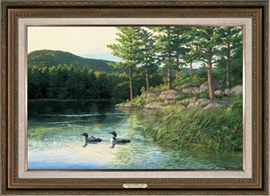 "Persis Clayton Weirs Handsigned and Numbered Limited Edition Oversized Framed Canvas:""Morning Memories-Loons """