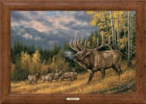 """Rosemary Millette Signed and Numbered Limited Edition Oversized Framed Canvas:""""Autumn Song – Elk"""""""