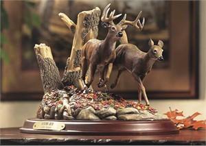 """Terry Redlin Open Edition Sculpture: """"Autumn Run-Whitetail Deer"""""""