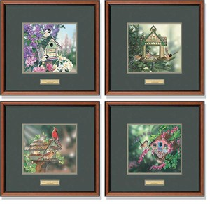 "Janene Grende Framed Open Edition Hand Signed Limited Edition Prints (Set of 4):""Bed and Breakfast Suite"""