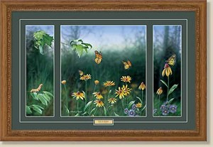 """Anthony J. Padgett Handsigned and Numbered Framed Limited Edition:""""Flight of a Monarch Triptych"""""""