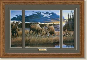 "Anthony J. Padgett Handsigned and Numbered Framed Limited Edition:""Locked at Lac Seul-Moose"""